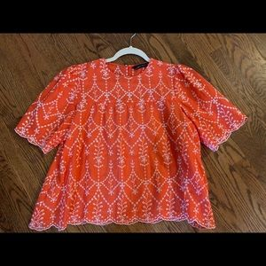 Zara Woman eyelet pattern blouse